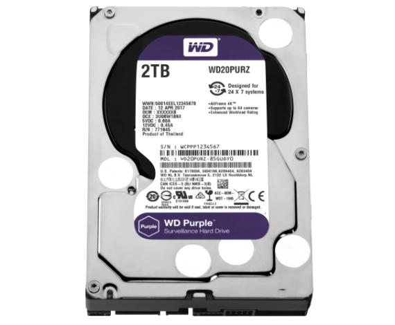 "WD PURPLE 3,5"" 2TB 64mb 7/24 Güvenlik (WD20PURZ) HDD"