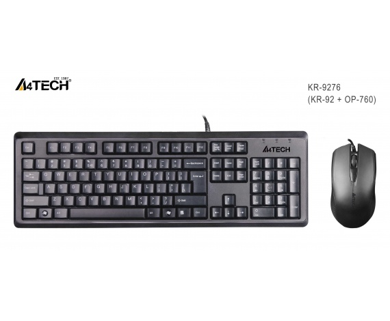 A4 TECH KR-9276 Q USB STANDART KLAVYE+OPTİK MOUSE